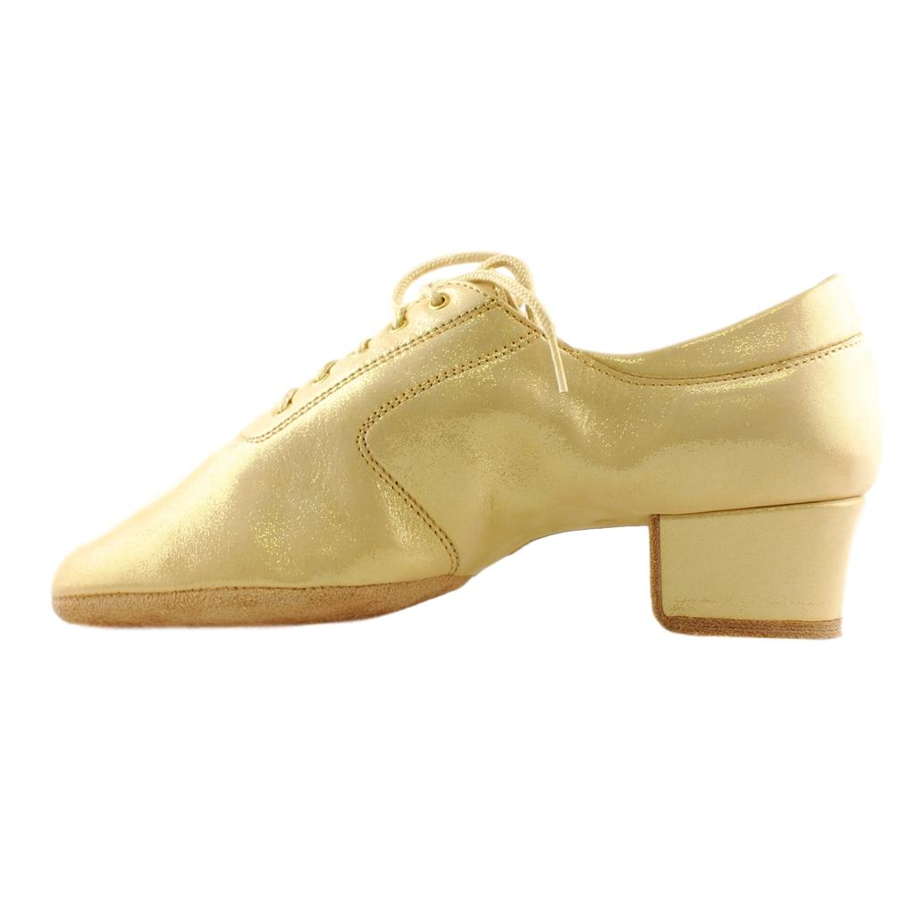 Galex Practice Dance Shoes for Women, Model 1205 Flexi, Leather Creamy Gold Pearl