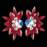Euro Glam Earrings, Clip-On or Pierced French Clip, Swarovski Light Siam and Crystal AB