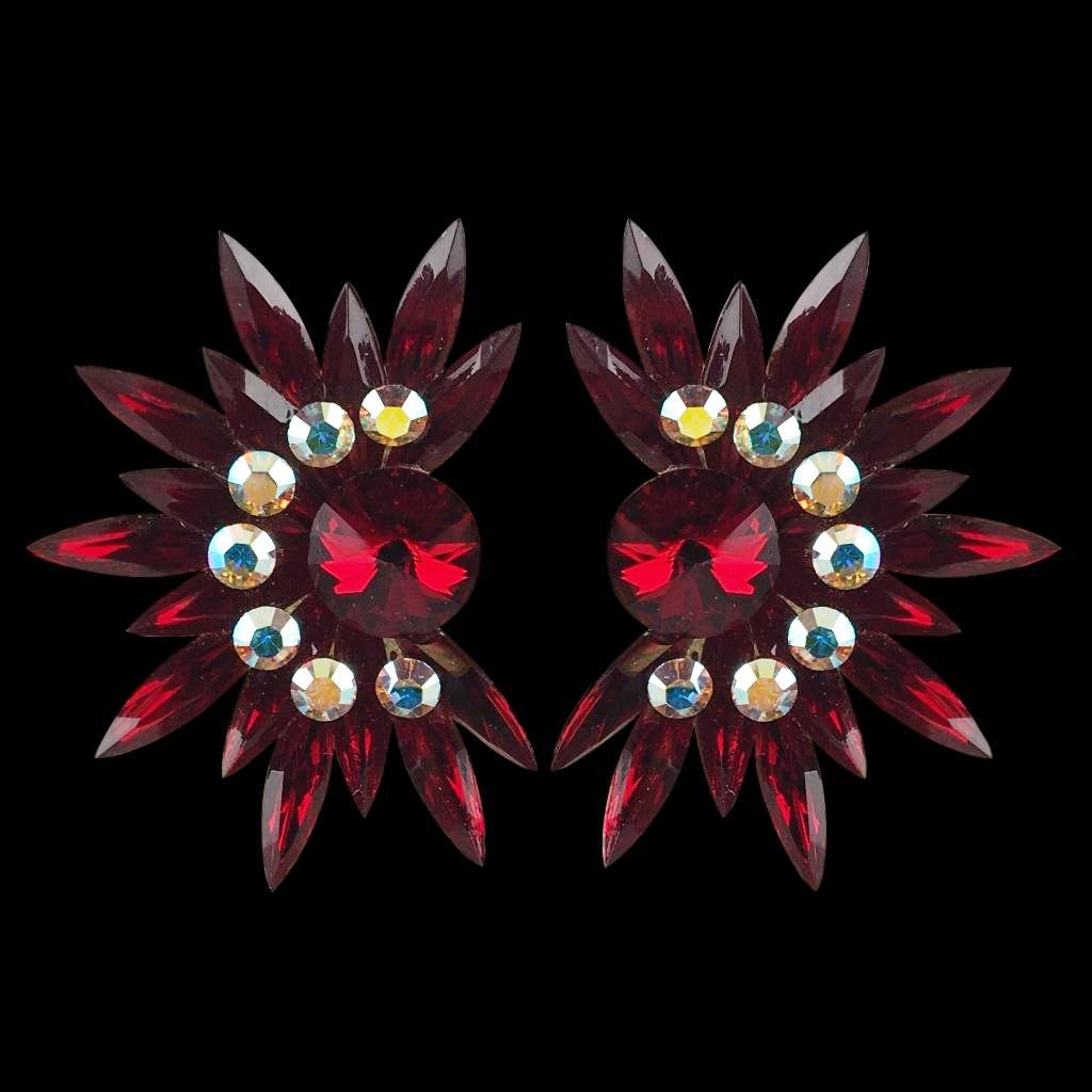 Euro Glam Earrings, Clip-On, Swarovski Siam - Crystal AB