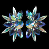 Euro Glam Earrings, Clip-On, Swarovski Crystal AB - Light Sapphire AB