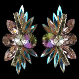 Euro Glam Earrings, Clip-On, Swarovski Crystal AB - Light Rose - Medium Vitral Light - Crystal