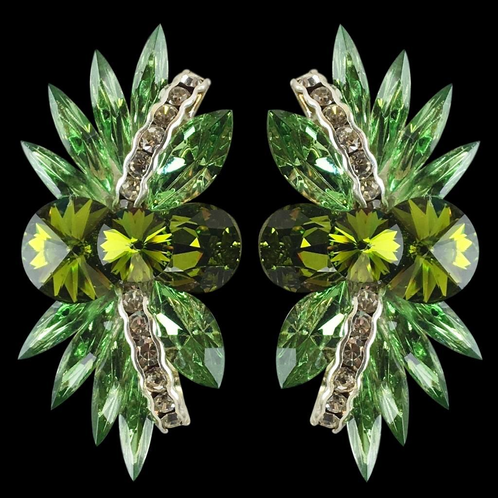 Euro Glam Earrings, Clip-On, Swarovski Pridot - Olivine