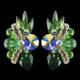 Euro Glam Earrings, Clip-On, Swarovski Peridot - Crystal AB - Emerald