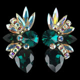 Euro Glam Earrings, Clip-On, Swarovski Emerald - Crystal AB