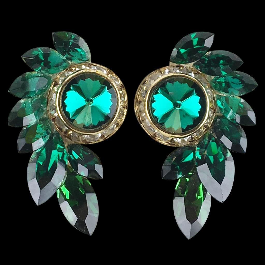 Euro Glam Earrings, Clip-On, Swarovski Emerald - Fern Green