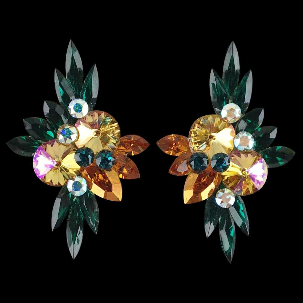 Euro Glam Earrings, Clip-On, Swarovski Emerald - Shampain - Topaz - Crystal AB