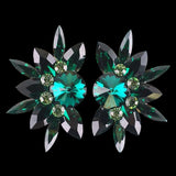 Euro Glam Earrings, Clip-On, Swarovski Emerald - Peridot