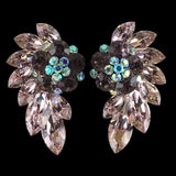 Euro Glam Earrings, Clip-On, Swarovski Light Amethyst - Amethyst Opal - Crystal AB