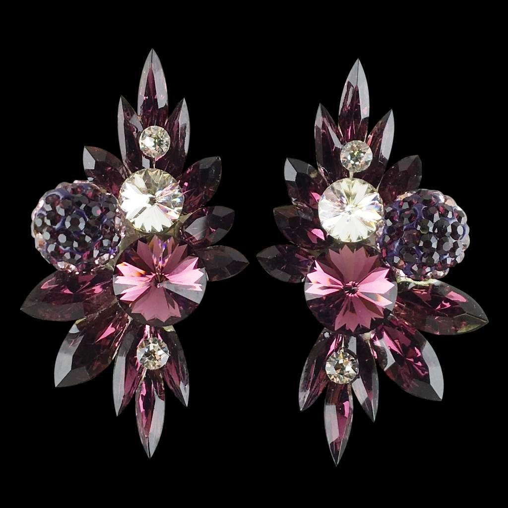Euro Glam Earrings, Clip-On, Swarovski Amethist - Crystal