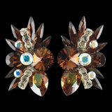 Euro Glam Earrings, Clip-On, Swarovski Smoked Topaz - Crystal AB - Crystal