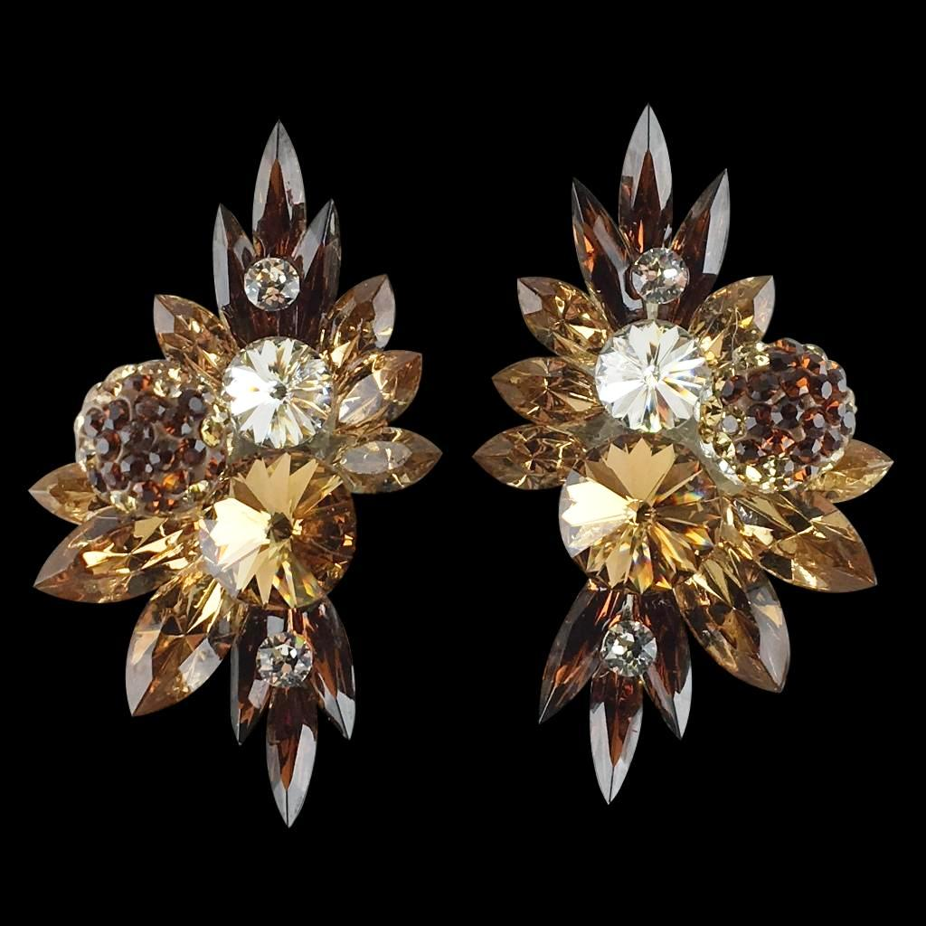 Euro Glam Earrings, Clip-On, Swarovski Topaz - Light Topaz - Crystal