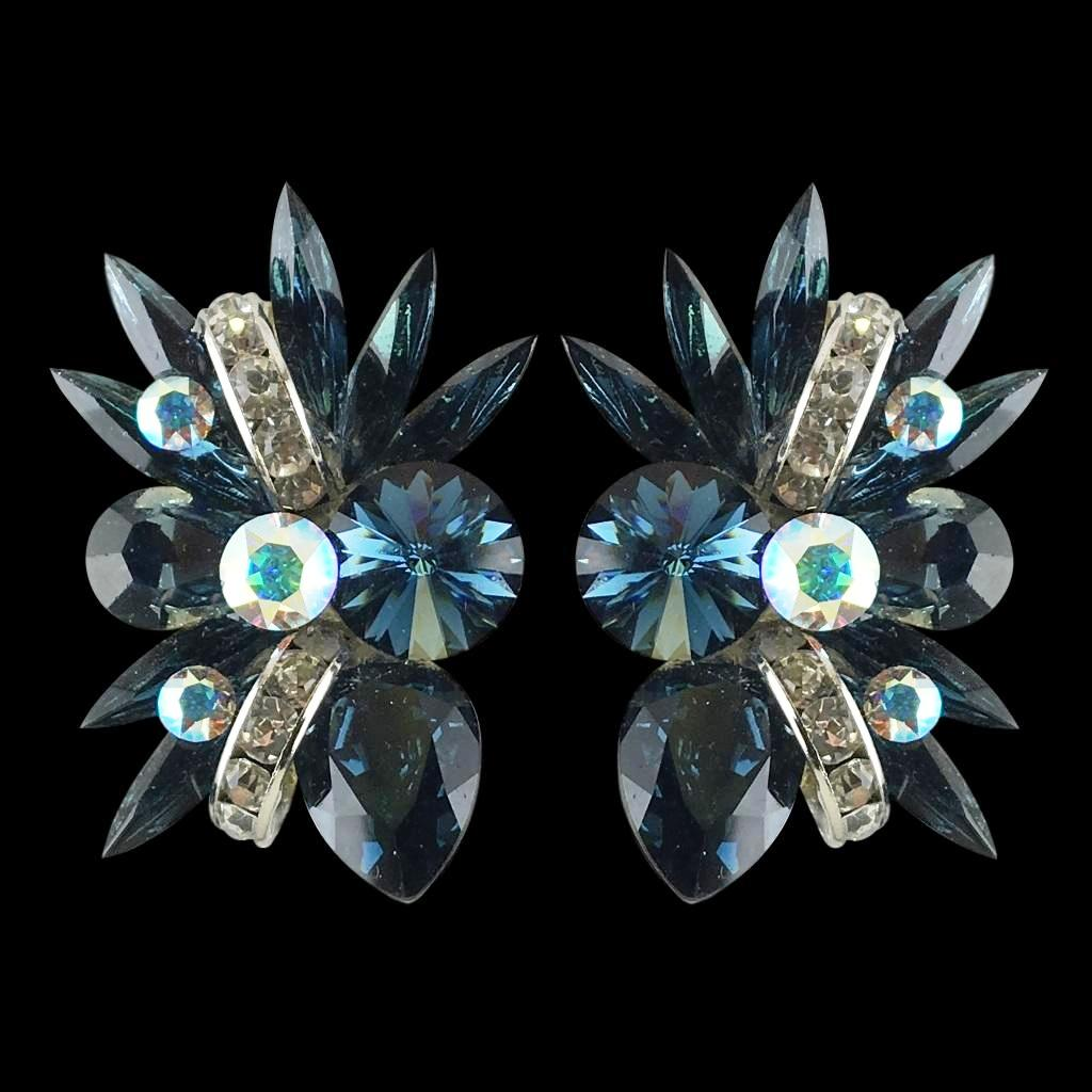 Euro Glam Earrings, Clip-On, Swarovski Montana - Crystal AB