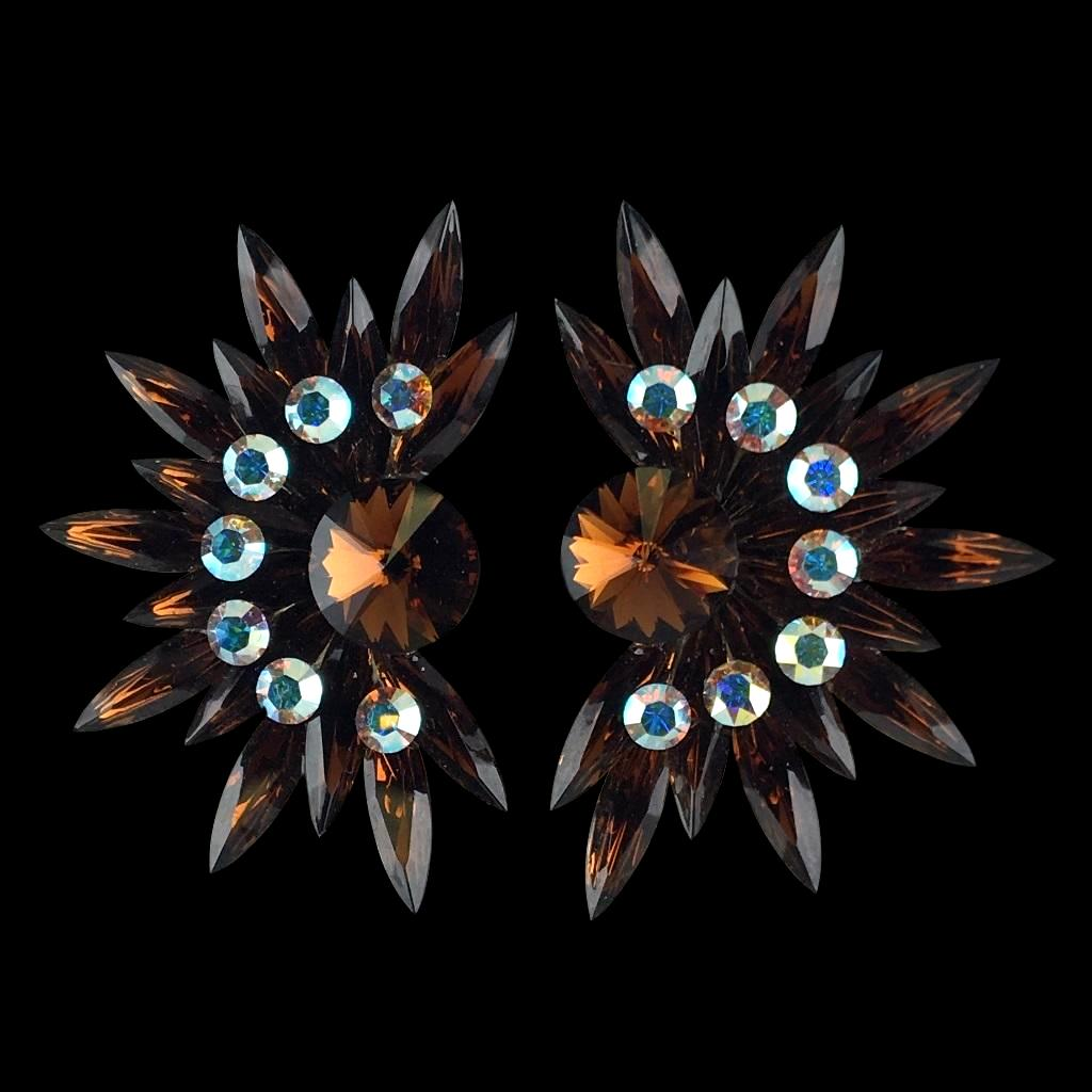 Euro Glam Earrings, Clip-On, Swarovski Topaz - Crystal AB