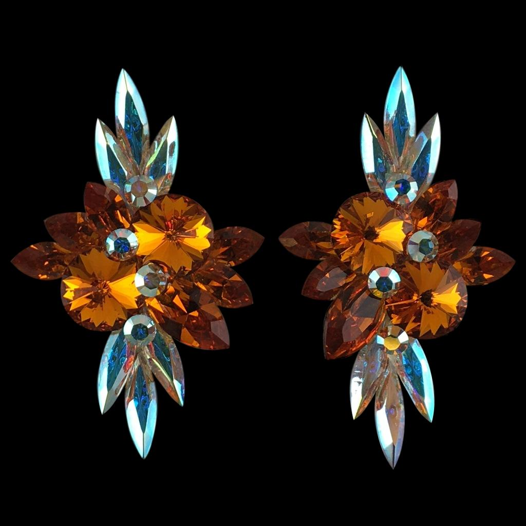 Euro Glam Earrings, Clip-On, Swarovski Tangerine and Crystal AB