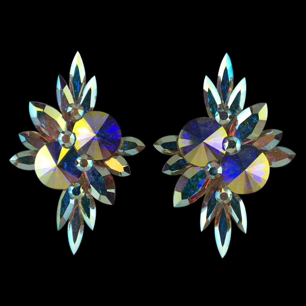 Earrings, Clip-On or Pierced French Clip, Swarovski Crystal AB