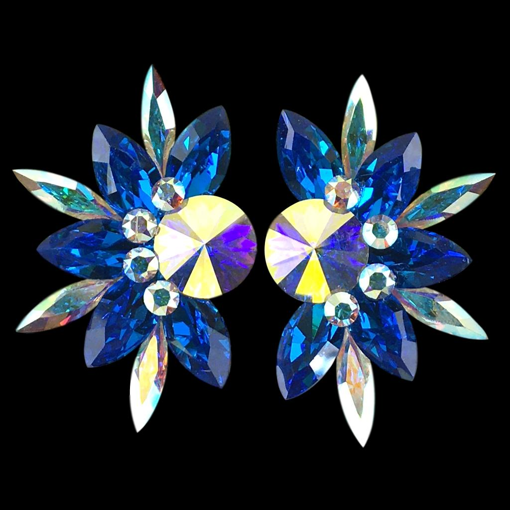 Euro Glam Earrings, Clip-On or Pierced French Clip, Swarovski Capri Blue and Crystal AB