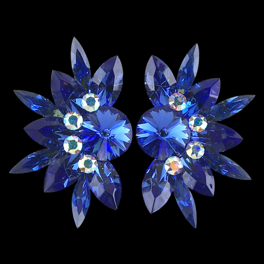 Euro Glam Earrings, Clip-On or Pierced French Clip, Swarovski Sapphire and Crystal AB