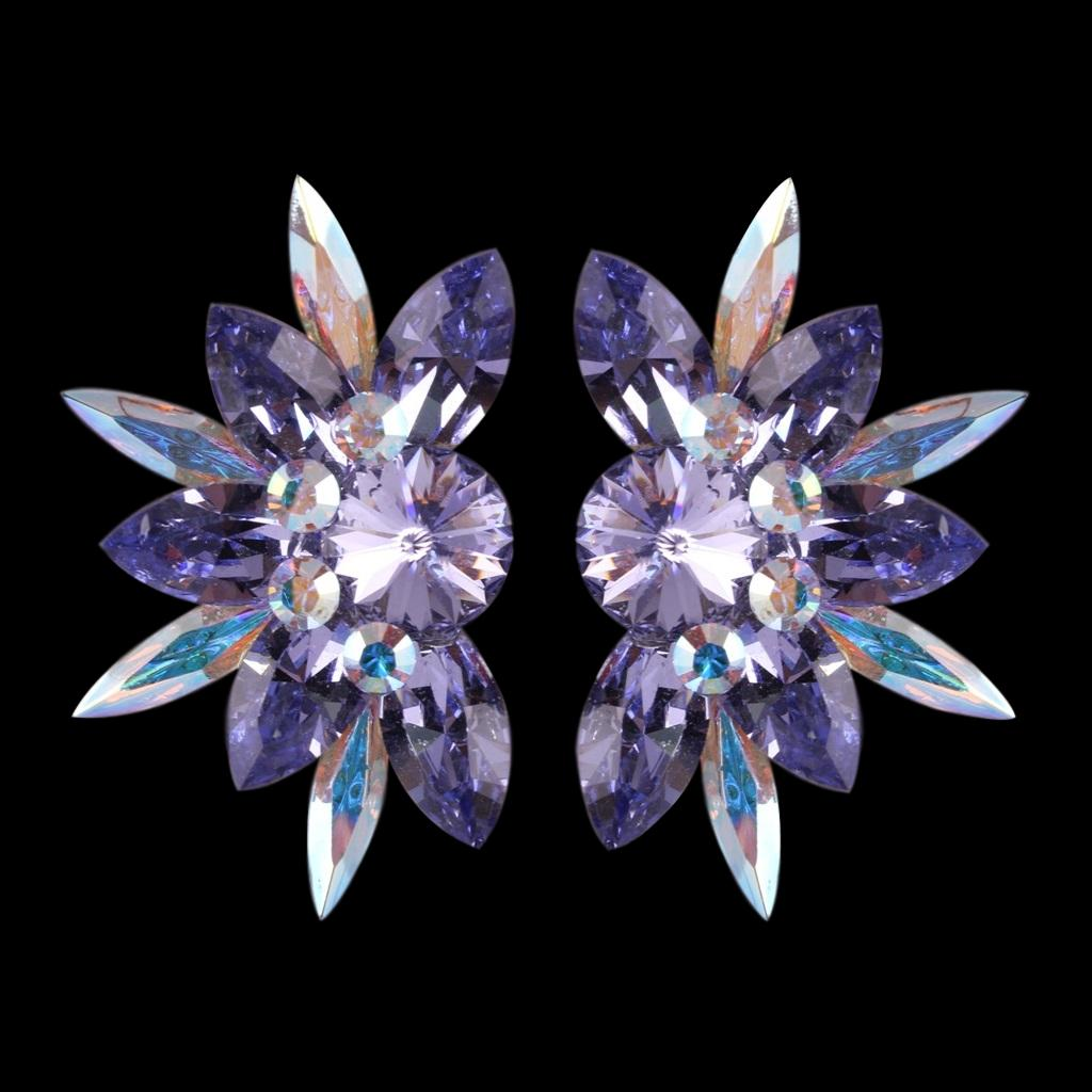 Euro Glam Earrings, Clip-On, Swarovski, Crystal AB - Tanzanite