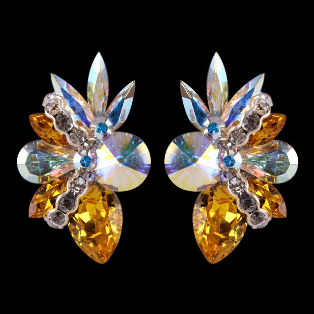 Euro Glam Earrings, Clip-On, Crystal AB - Citrine