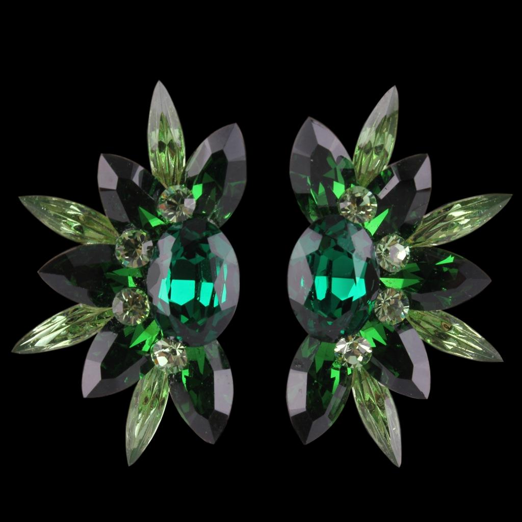 Euro Glam Earrings, Clip-On, Emerald - Olivine - Peridot