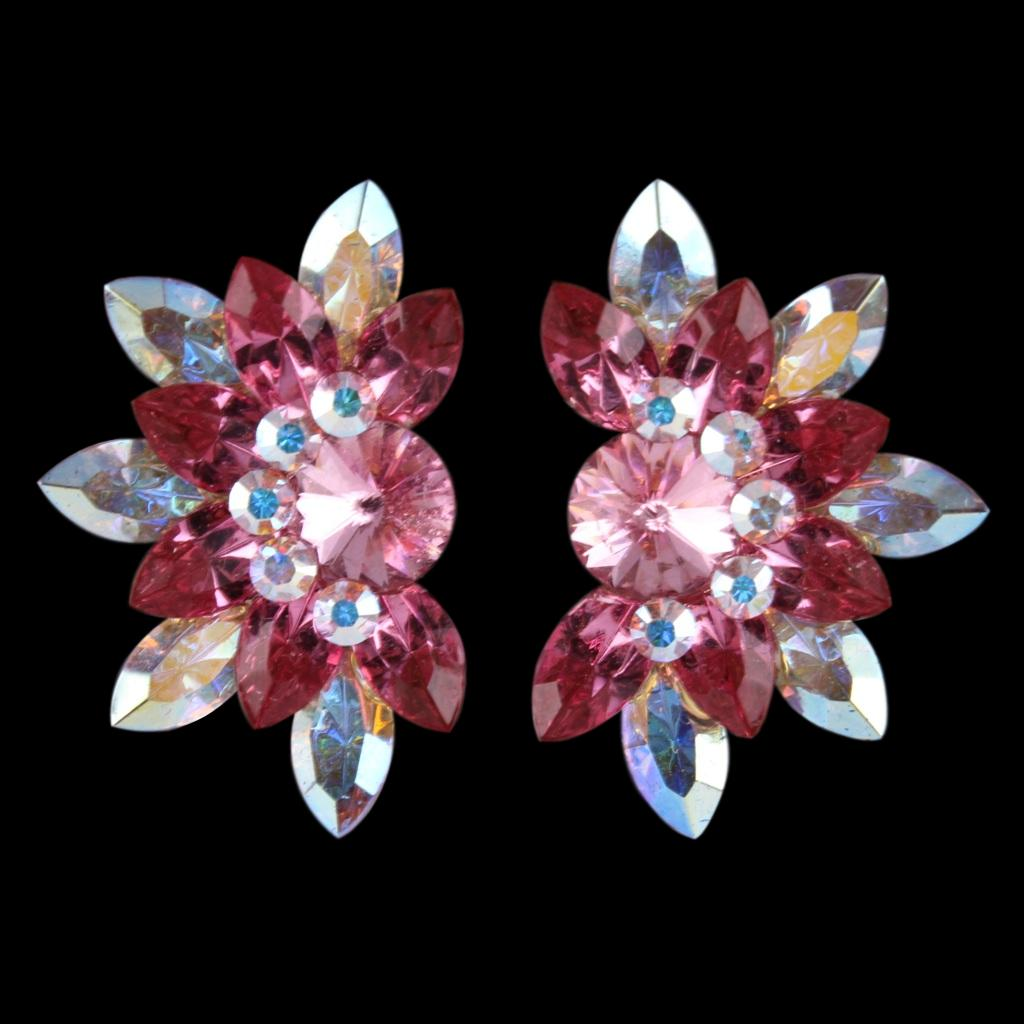 Euro Glam Earrings, Clip-On, Swarovski Light Rose - Rose - Crystal AB