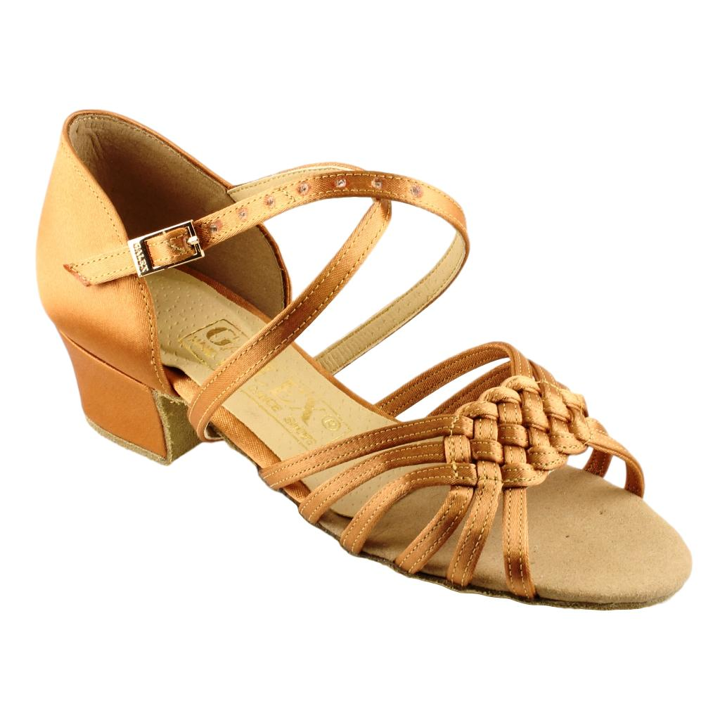 Galex Latin Dance Shoes for Girls, Model 3013 Lilia, Tan Satin, Block Heel