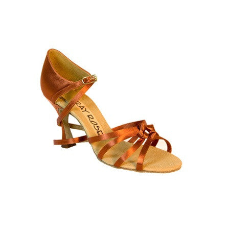Ray Rose Latin Dance Shoes for Women, Model 820 Blizzard, Tan Satin, Heel 2.5""