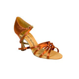 Ray Rose Latin Dance Shoes for Women, Model 820 Blizzard, Tan Satin, Heel 3