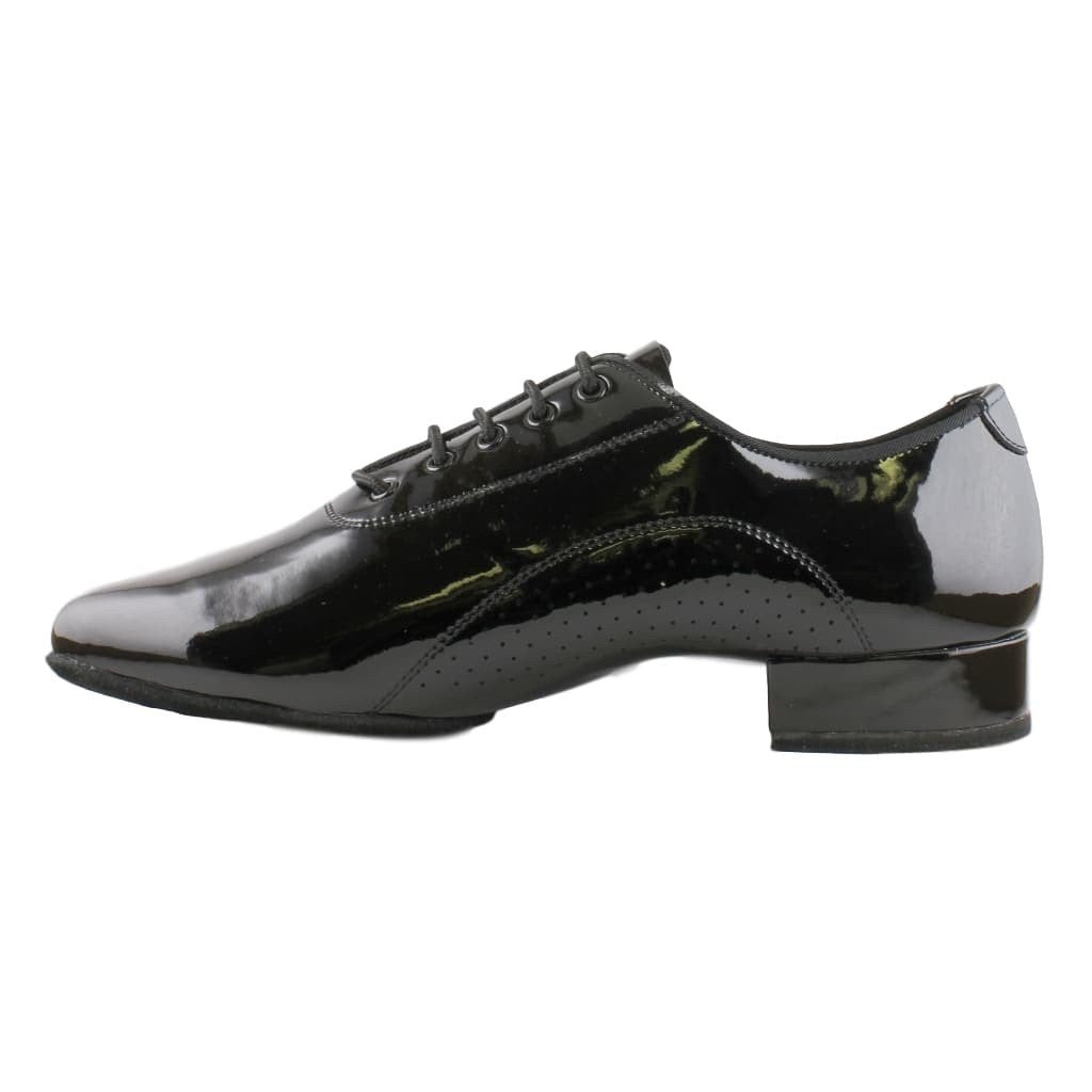 Standard Dance Shoes for Men, Model E-400112W, Black Patent Leather, Wide