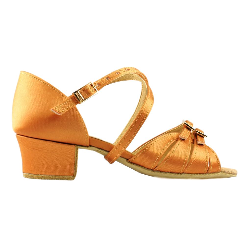 Galex Latin Dance Shoes for Girls, Model 3066 Tatiana, Tan Satin, Block Heel