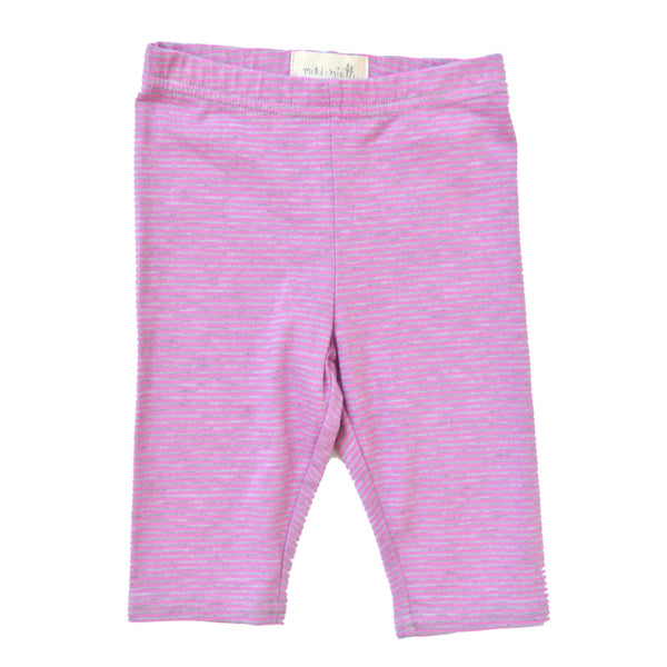 Josie Crop Girl's Leggings in Orchid Stripe by Miki Miette