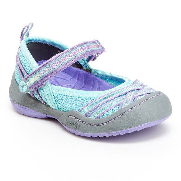 Toddler Girl's Fia Vegan Shoes in Aqua/Purple by Jambu