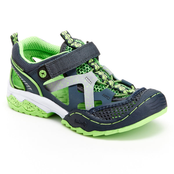 Boy's Squamata Adventure Shoes in Silver/Neon Green by Jambu