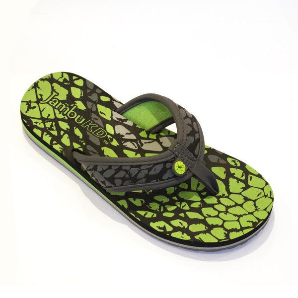 Crescent Boy's Flip-Flop in Charcoal and Neon Green by Jambu