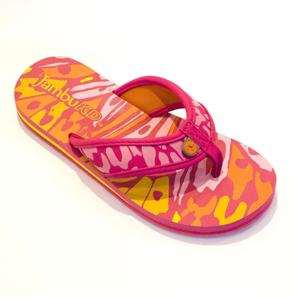 Crescent Girl's Flip-Flop in Fuchsia and Orange by Jambu