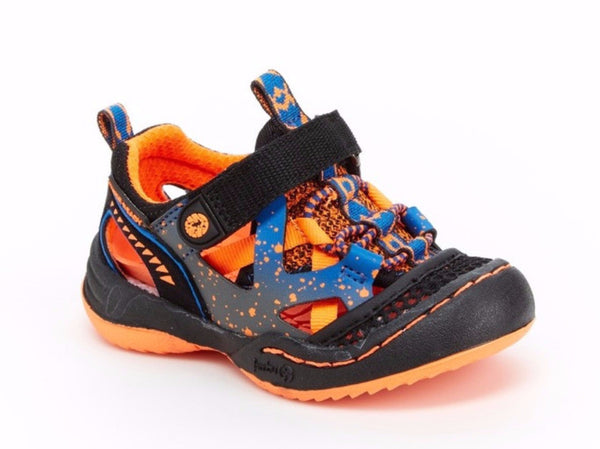 Toddler Boy's Squamata Adventure Shoes in Black/Orange bu Jambu
