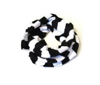 Kids Infinity Scarf Black Stripe Hand-Made in L.A. *Prime