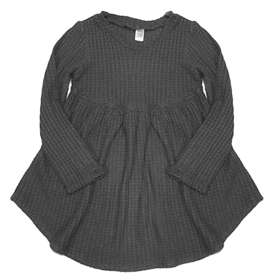 Thermal Baby Doll Tunic in Dark Grey