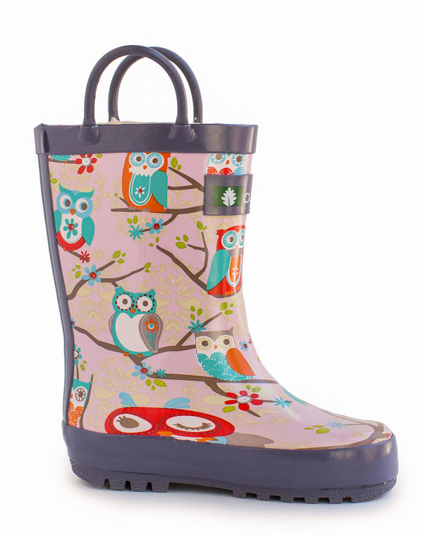 Girl's Rain Boot with Perched Owls Design by Oakiwear