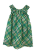 Girl's Summer Plaid Shift Dress in Green by Nano Kids Back of Dress