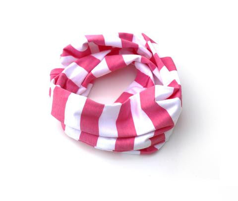 Kids Infinity Scarf Pink Stripe Hand-Made in the USA