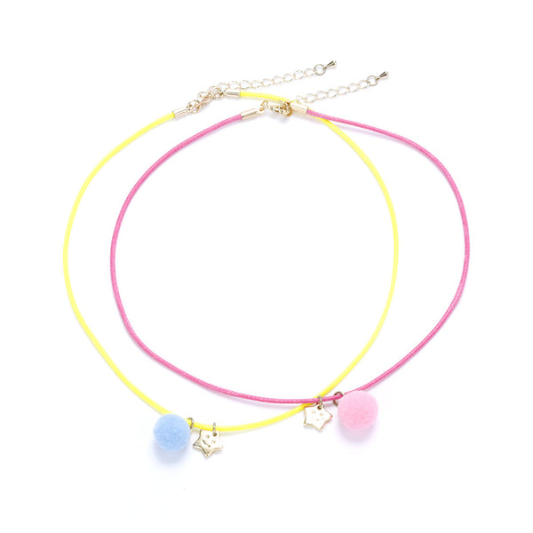Star & Moon Rope Necklace Twin-Pack Pink and Yellow