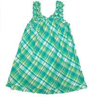 Girl's Summer Plaid Shift Dres in Green by Nano Kids