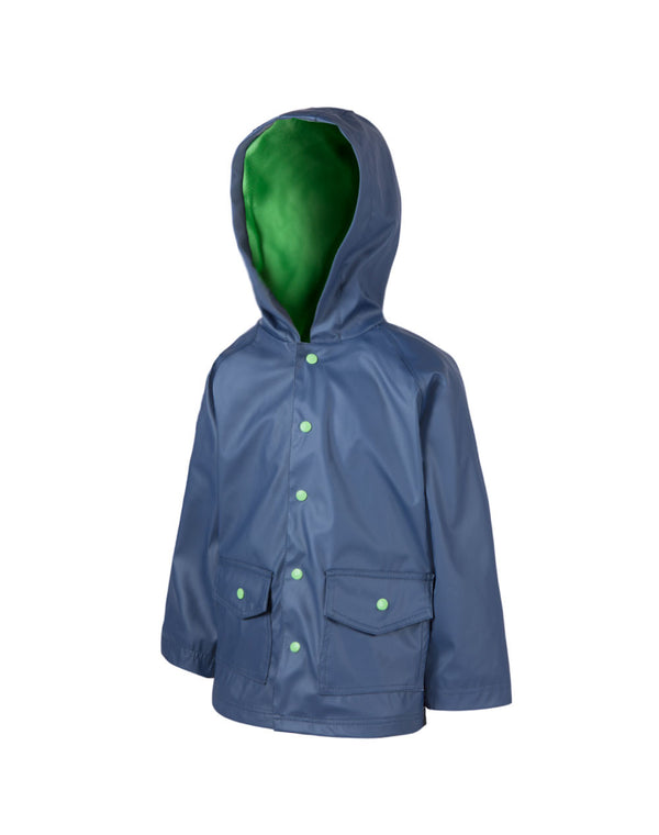 Children's Rain Coat Navy and Green