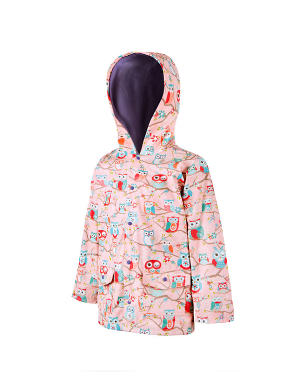 Children's Rain Coat Perched Owls by Oakiwear