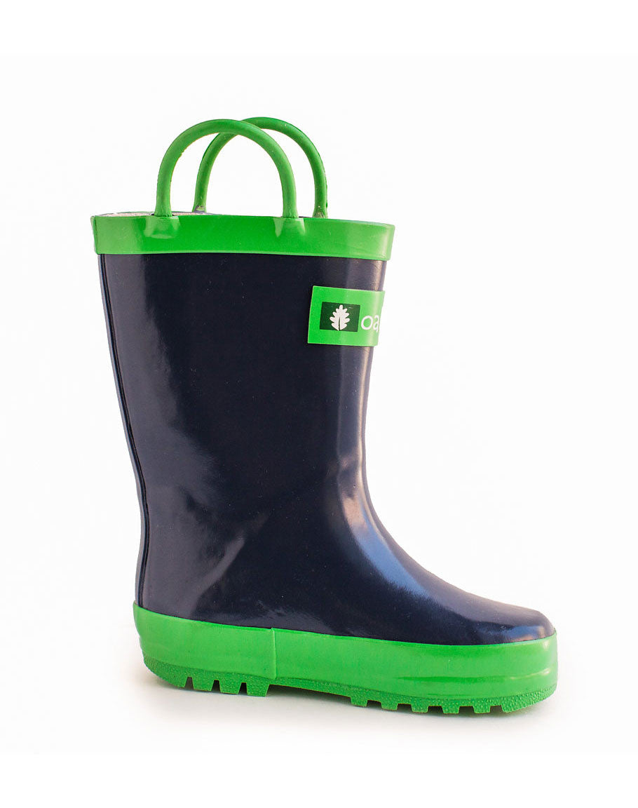 Children's Rain Boots in Green and Navy by Oakiwear