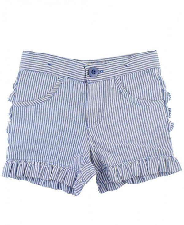 Ruffle Bermuda Shorts in Blue Seersucker