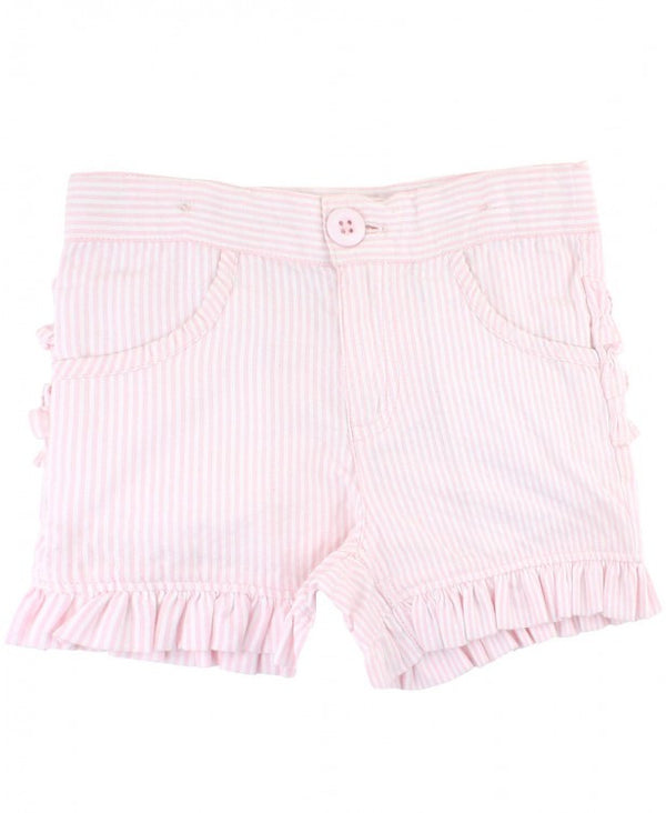 Ruffle Bermuda Shorts in Pink Seersucker