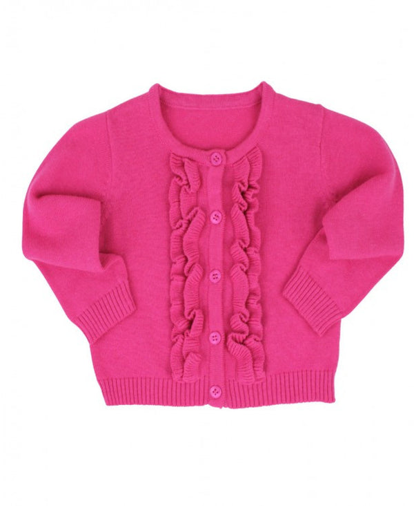 Ruffled Girl's Cardigan in Pink Candy