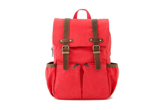 Kid's Canvas City Backpack in Red by Oliday